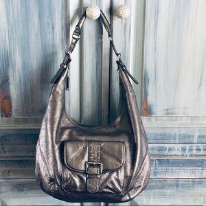 Calvin Klein Metallic Pewter Leather Handbag